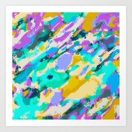 camouflage pattern painting abstract background in green blue purple yellow Art Print