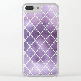 Moroccan Trellis, Watercolors - Purple White Clear iPhone Case