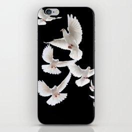 WHITE PEACE DOVES ON BLACK COLOR DESIGN ART iPhone Skin