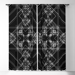 Black sacred geometry design with occult and wicca style Blackout Curtain