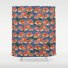 goldfish on a blue background Shower Curtain