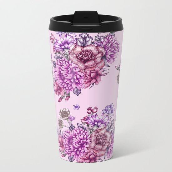 Pink Vintage Florals Metal Travel Mug