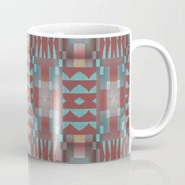Coral Red Brown Aqua Turquoise Mosaic Pattern Coffee Mug