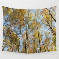 birch Wall Tapestries featuring Birch forest by Tanja Riedel