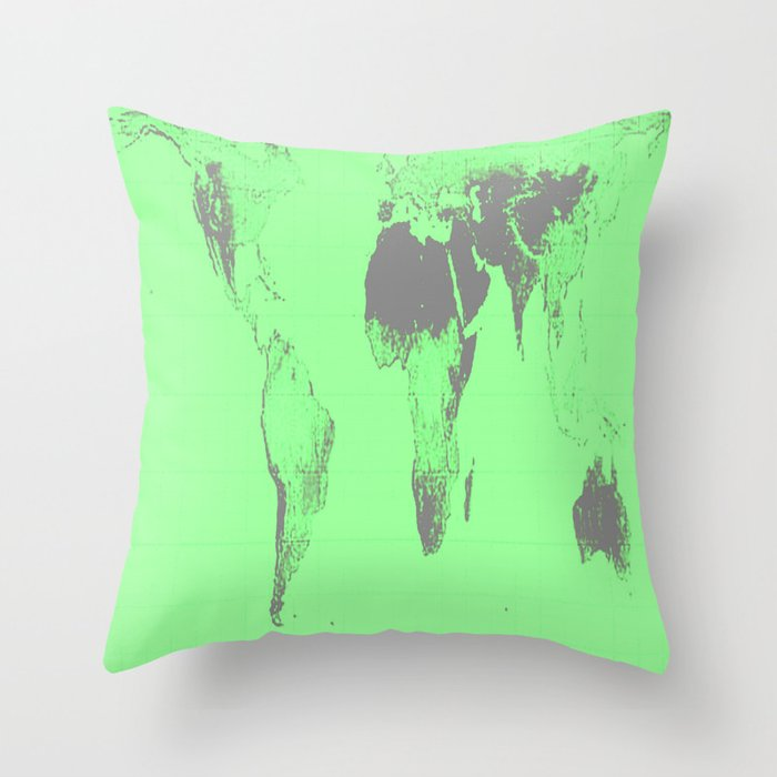 World Map Gall Peters Seafoam Green Throw Pillow By Vintageby2sweet
