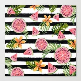 Watermelon black stripes Canvas Print