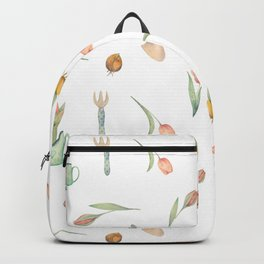 Lovely Tulips and Garden Tools Pattern Backpack