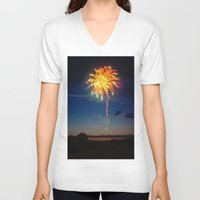 minnesota V-neck T-shirts featuring Minnesota Fireworks by Justine Joy