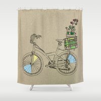 bicycle Shower Curtains featuring Bicycle by Madmi