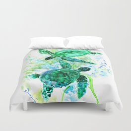 Sea Turtles Underwater Scene Turquoise Blue design, bright blue green design Duvet Cover