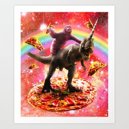 Space Sloth Riding Dinosaur Unicorn - Pizza & Taco Art Print