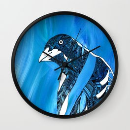 Magpie Blues Wall Clock