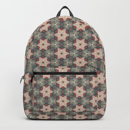 Red & Blue Geometric Pattern of Stars Backpack
