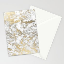 Modern chic faux gold white elegant marble Stationery Cards