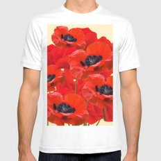 RED ORIENTAL POPPIES ON CREAM COLOR Mens Fitted Tee White MEDIUM