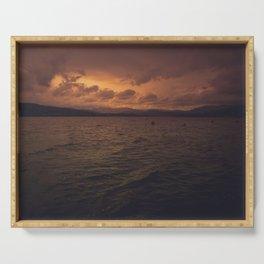 Lake sunset Cumbria Serving Tray