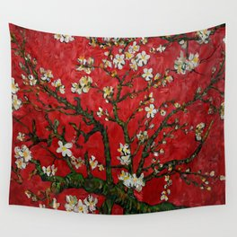 Abstract Daisy With Red Background Wall Tapestry