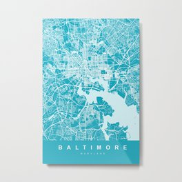 BALTIMORE Map Maryland   Blue & Cyan   More Colors, Review My Collections Metal Print