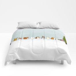 winter animals on the christmas tree Comforters