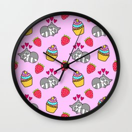 Cute happy sleeping dreaming Kawaii baby raccoon, sweet red summer strawberries and colorful rainbow yummy cupcakes light bright pastel pink design. Wall Clock