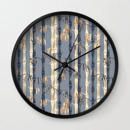 Bamboo Forest Pattern - Blue Rust Cream Wall Clock