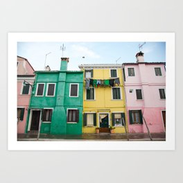Laundry drying in Burano, Italy Art Print
