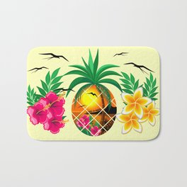 Pineapple Tropical Sunset, Palm Tree and Flowers Bath Mat