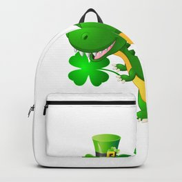 Kid's St Patricks Dinosaur T-Rex design Backpack