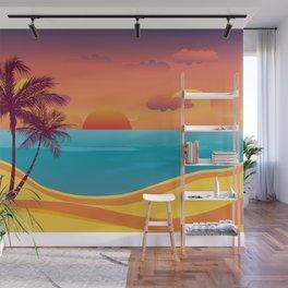 Tropical Beach Sunset Wall Mural