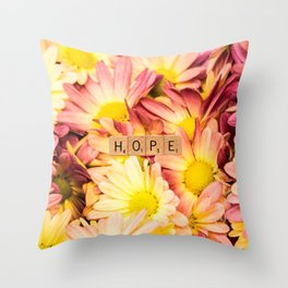 Multi-colored Daises ~ HOPE Throw Pillow