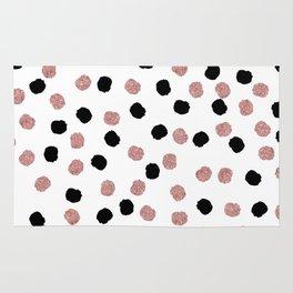 Modern rose gold black abstract brush polka dots  Rug