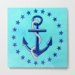 Nautical Anchor with Stars Metal Print
