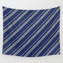 Potterverse Stripes - Ravenclaw Blue & Silver Wall Tapestry