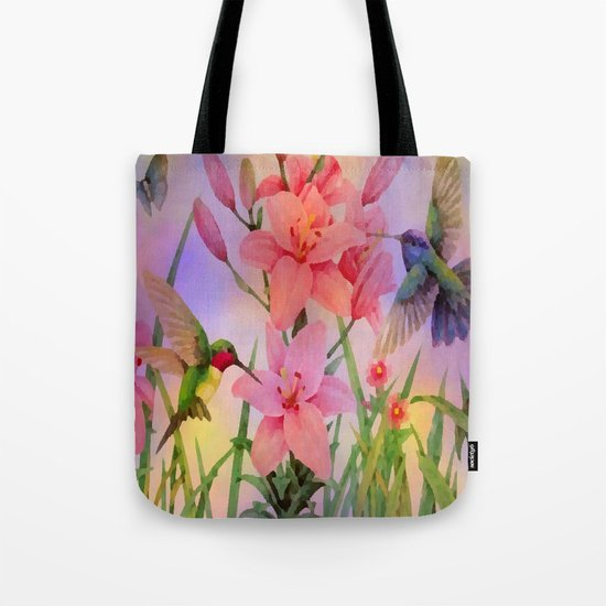 Painterly Hummingbirds And Flowers Tote Bag