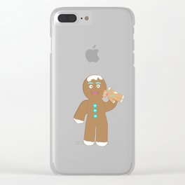 Gingerbread Man eating Gingerbread cookie Clear iPhone Case