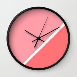 Modern minimalist geometric pink coral color block Wall Clock