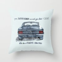 mustang Throw Pillows featuring Mustang by dareba