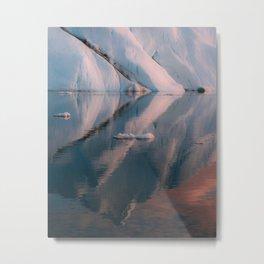 Minimalist Iceberg Reflection during sunset in the arctic Ocean  Metal Print