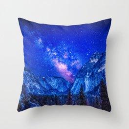 Milky Way Over Mountain Throw Pillow