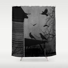Rustic Black Birds Crows on Abandoned House Porch Black and White Art A605 Shower Curtain