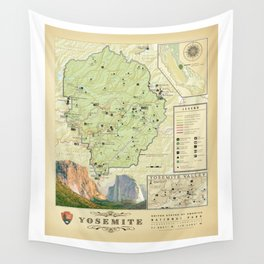 Yosemite National Park Map {Color Version} Print Wall Tapestry