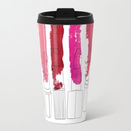 Lipstick Stripes - Floral Fuschia Red Travel Mug