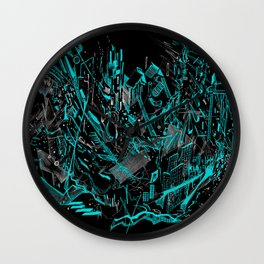 Dynamic Space (Black Cyan) Wall Clock
