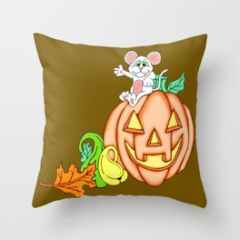 Fall Time Fun Mouse and Pumpkin Throw Pillow