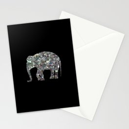 Sparkly colourful silver mosaic Elephant Stationery Cards