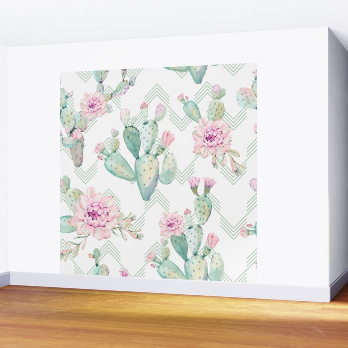 Cactus Rose Deconstructed Chevron Wall Mural