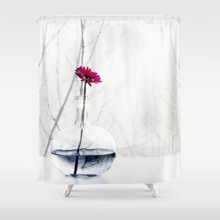 Red Flower Shower Curtain By Ingz