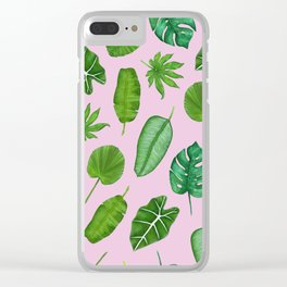 Pink Tropical Monstera Palm Leaves Jungle Pattern Clear iPhone Case