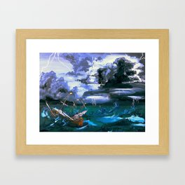 Ship in Storm Framed Art Print