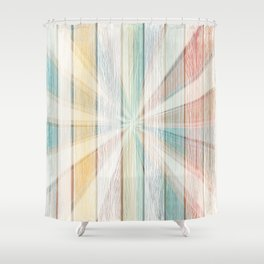 Grunge wooden vector texture in pastel vibrant color Shower Curtain